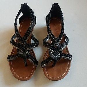 🌺☆Apostrophe☆ Black and Metallic rope sandals